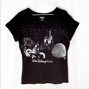 DISNEY WORLD MICKEY MOUSE T-shirt black silver